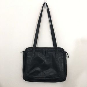 Tignanello Laptop Handbag Black Leather Work Purse